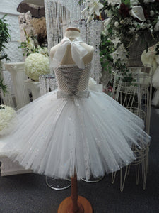 White/Silver Sequin Corset Flowegirl Tutu Dress
