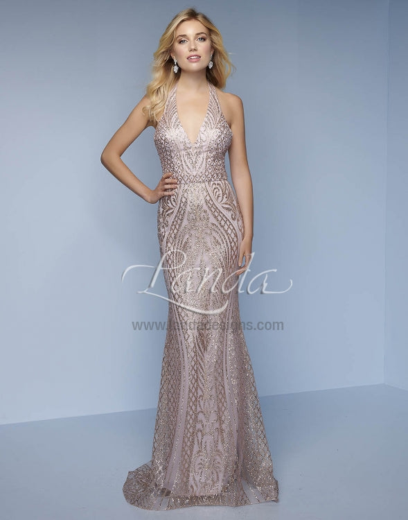Splash Prom Glitter Net Halter Gown K117 Rose Gold