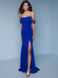 Splash Cold Shoulder Jersey Prom Dress K118 Royal