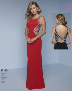 Splash Prom Cut Out Jersey Dress K160 Red