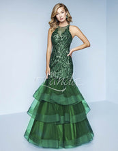 Load image into Gallery viewer, Splash Prom Sequin Mermaid Ruffle Skirt Dress K166 Emerald