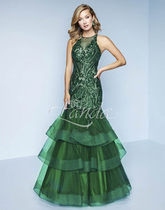 Splash Prom Sequin Mermaid Ruffle Skirt Dress K166 Emerald