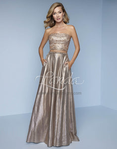 Splash Two Piece Strapless Metallic Gown K167 Champagne