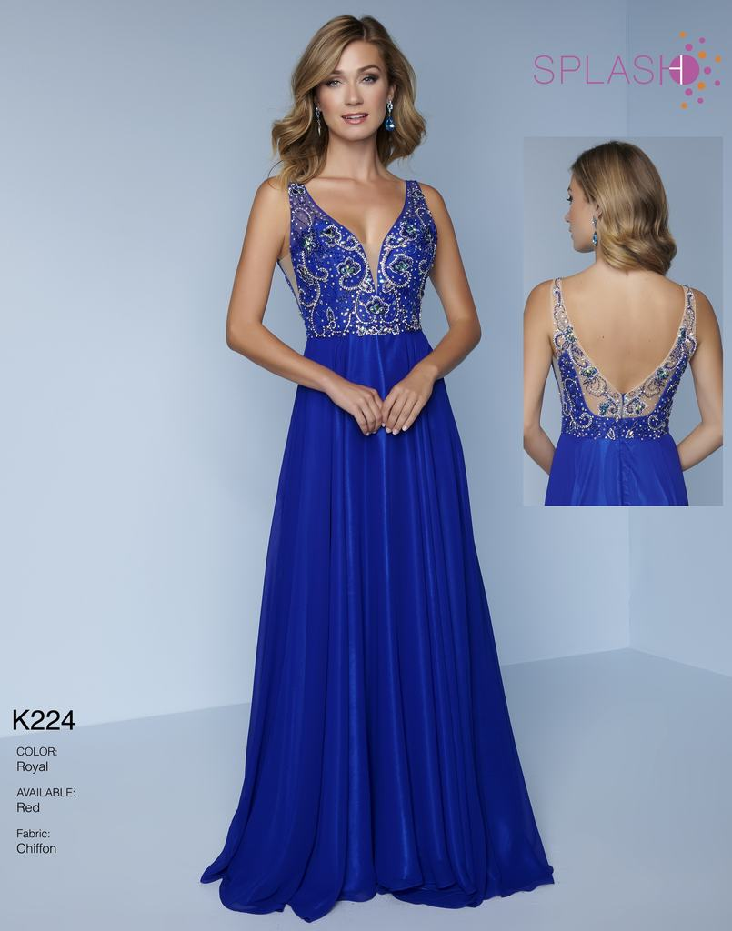 Splash Prom Chiffon Beaded Gown K224 Royal