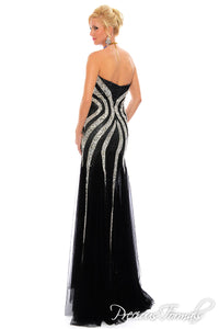 Precious Formals Beaded Gown Black/Silver L39000