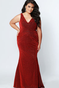 Sydney's Closet Glitter Jersey Dress SC7263 Red