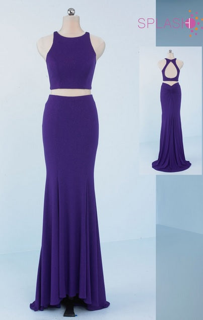 Splash Prom Two Piece Glitter Jersey Dress X002 Purple