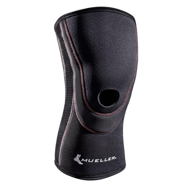 Close up of Mueller Breathable Open Patella Knee Sleeve