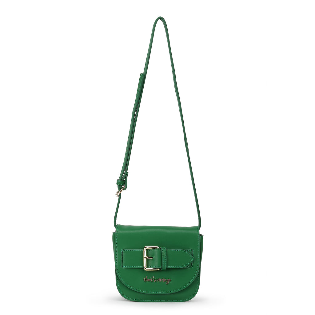 Buckle Me Up green crossbody bag