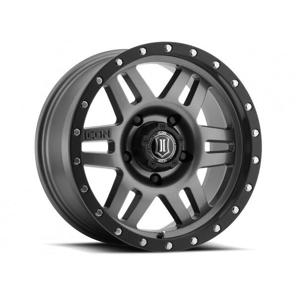 "ICON ALLOY 17"" SIX SPEED GUN MTL 17 X 8.5 W/  6 ON 135  BOLT CIR"