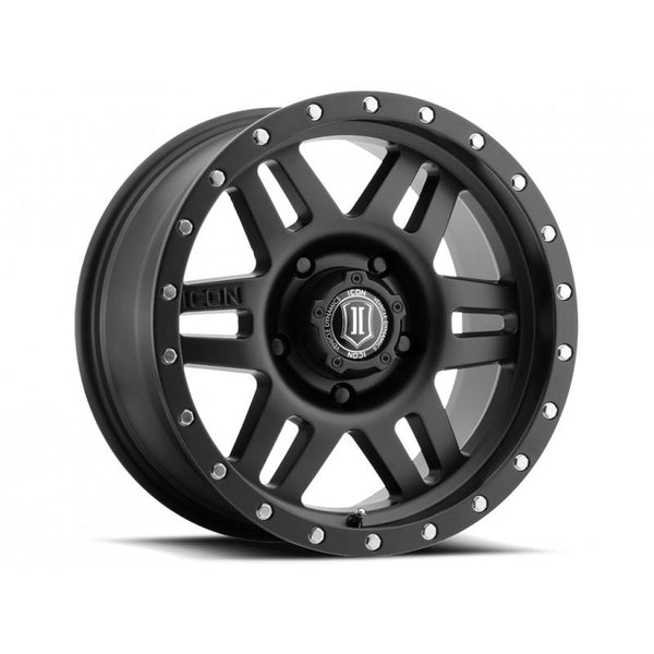 "ICON ALLOY 17"" SIX SPEED SAT BLK 17 X 8.5 W/  5 ON 5  BOLT CIR"