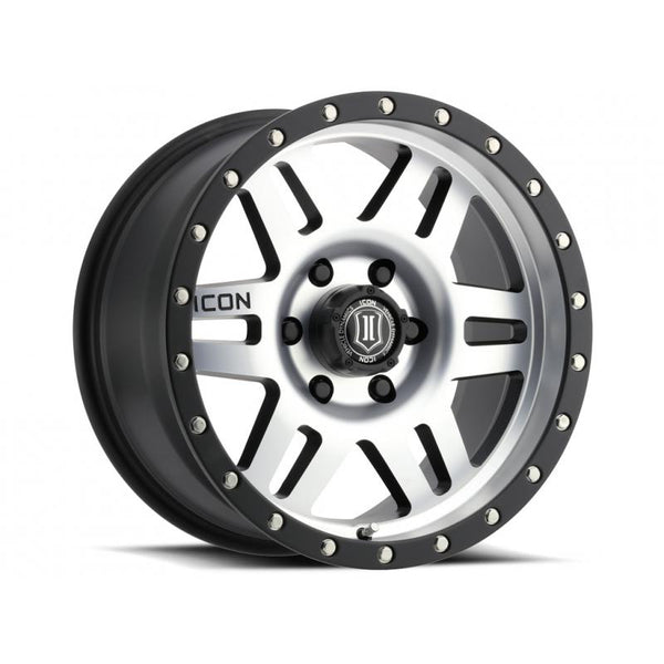 "ICON ALLOY 17"" SIX SPEED SAT BLK MACH 17 X 8.5 W/  5 ON 150  BOLT CIR"