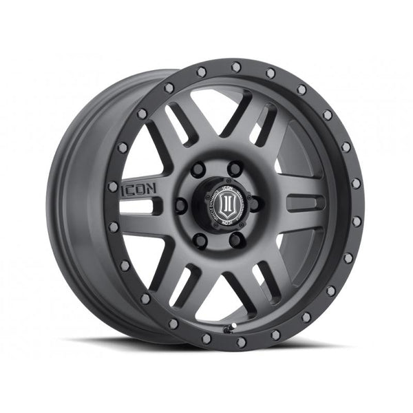 "ICON ALLOY 17"" SIX SPEED TITANIUM 17 X 8.5 W/  5 ON 5  BOLT CIR"