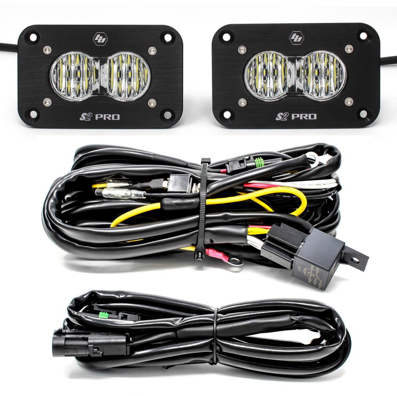 Flush Mount LED Light Pod Kit Wide Cornering Pair S2 Pro Baja Designs