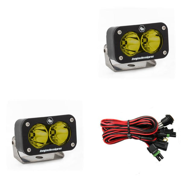 LED Work Light Amber Lens Spot Pattern Pair S2 Sport Baja Designs