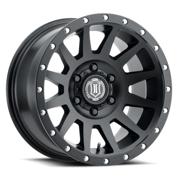 "ICON ALLOY 17"" COMPRESSION SAT BLK W/ 6 ON 5.5 BOLT CIR"