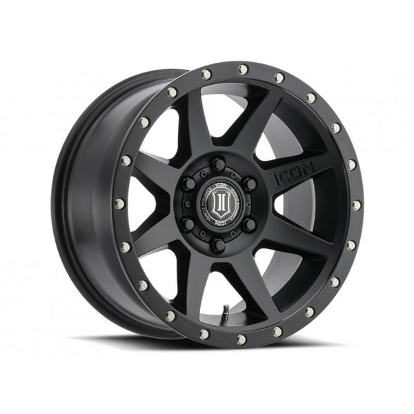 "ICON ALLOY 17"" REBOUND SAT BLK W/ 5 ON 150 BOLT CIR"