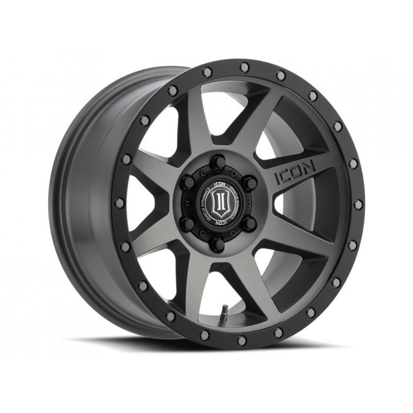 "ICON ALLOY 17"" REBOUND TITANIUM W/ 6 ON  135 BOLT CIR"