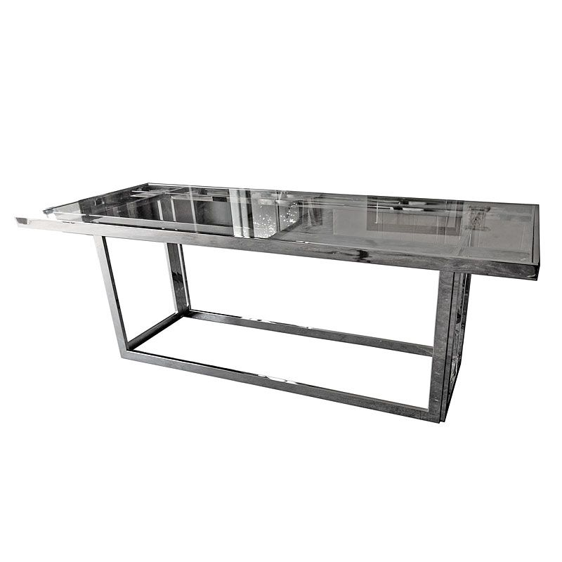 Table 220x90x77cm Clear Glass