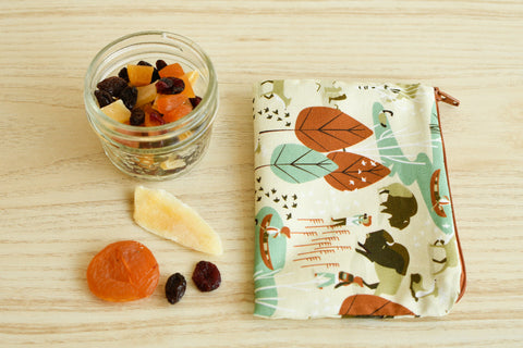 dried fruit in a jar and a reusable snack bag