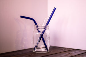 Glass Straws, Regular, Bent, Blue