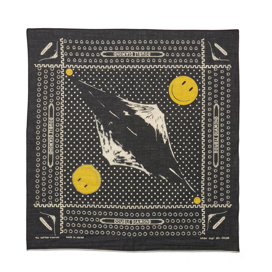 Kapital Fast Color Selvedge Fuji Mirrored Smile Bandana - Black