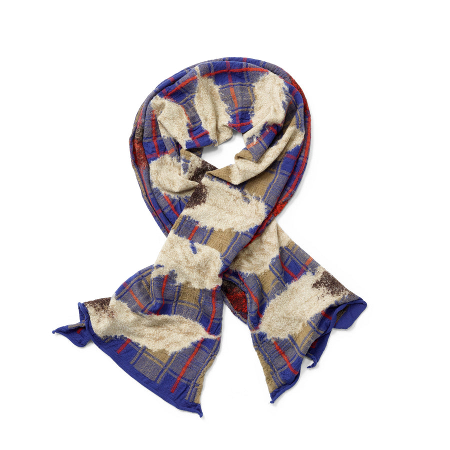 Kapital Blue Tartan Feather Scarf