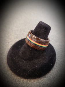 LGBT PRIDE Wenge and Rainbow Handcrafted Wooden Ring