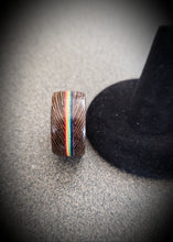 Load image into Gallery viewer, LGBT PRIDE Wenge and Rainbow Handcrafted Wooden Ring