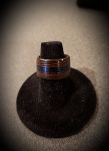 Thin Blue Line and African Wenge Wooden Ring, Law Enforcement