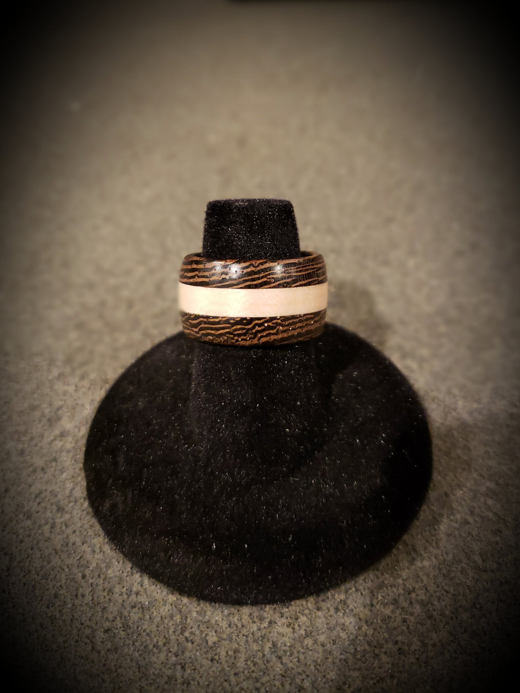 Stunning Exotic African Wenge and Curly Maple Wooden Ring