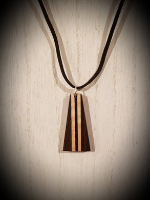 Wooden Necklace Pendant made from Exotic Wenge with Stunning Curly Maple Accents