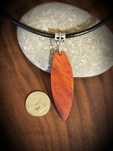 Stand Up Paddleboard Necklace, Exotic African paduak ,SUP Board Necklace Pendant! Surfboard, Cord Leather necklace