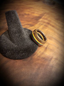 LGBT PRIDE Wooden Ring, Wenge and Rainbow Handcrafted, Gay Ring, Custom Sizing