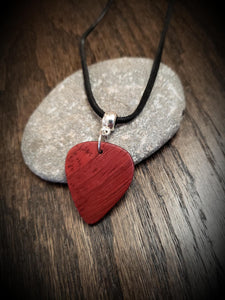 Exotic Padauk Wood Guitar Pick Pendant.