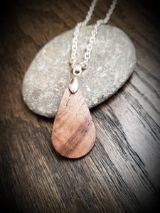 Wooden Teardrop Necklace Pendant made from Gorgeous Figured Walnut