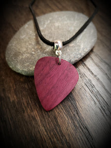 Exotic Purpleheart Wood Guitar Pick Pendant.