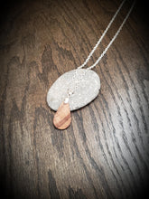 Load image into Gallery viewer, Wooden Teardrop Necklace Pendant made from Gorgeous Figured Walnut