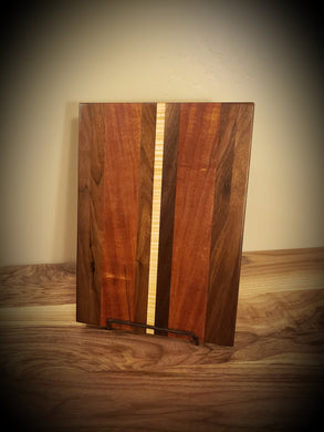 Gorgeous Cutting board, African Mahogany, Walnut and Curly Maple