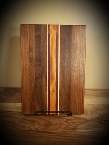 Gorgeous Cutting board, African Mahogany, Walnut, Purpleheart and Curly Maple