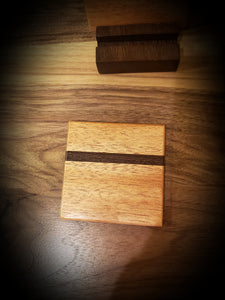 African Mahogany and Wenge Coasters with Wenge holder