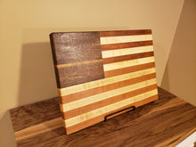 Load image into Gallery viewer, American Flag Cutting Board! Beautiful figured walnute, cherry and maple