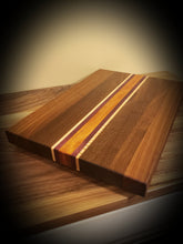 Load image into Gallery viewer, Gorgeous Cutting board, African Mahogany, Walnut, Purpleheart and Curly Maple
