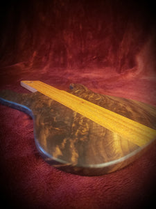 Stunning Guitar Serving Board with beautiful figured Walnut and African Mahogany