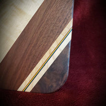 Load image into Gallery viewer, PRIDE serving board! Stunning walnut, and maple with pride rainbow outlined in black.