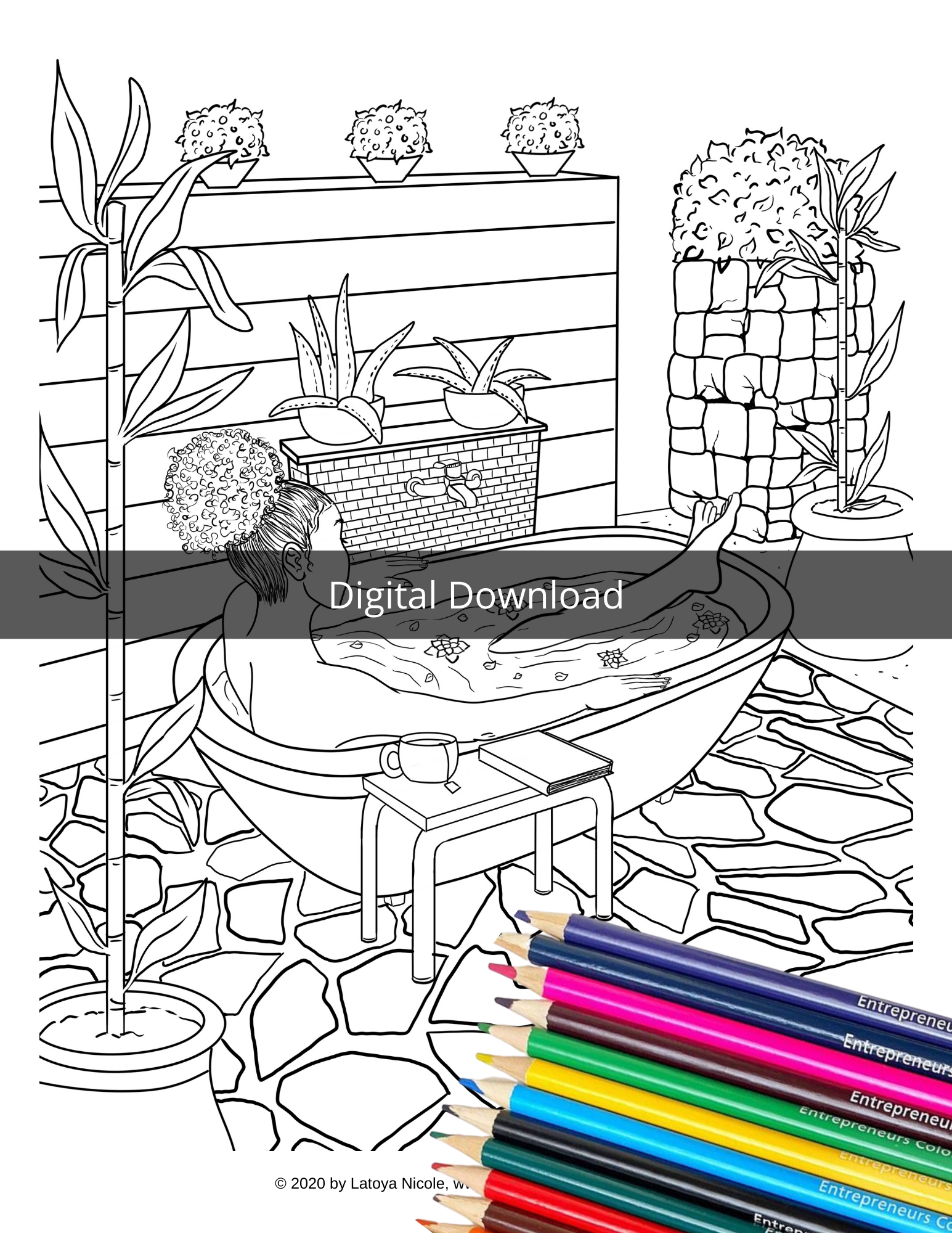 Self Care - Bath Girl Coloring Page (DOWNLOAD)