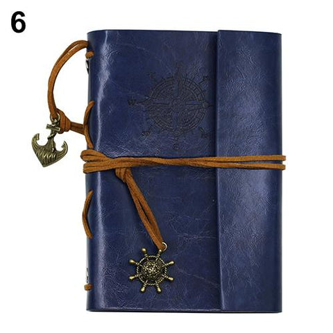 Portable Leather Blue Travel Journal