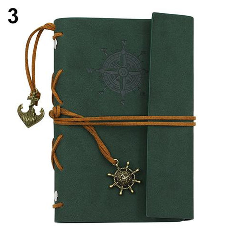 Portable Leather Green Travel Journal
