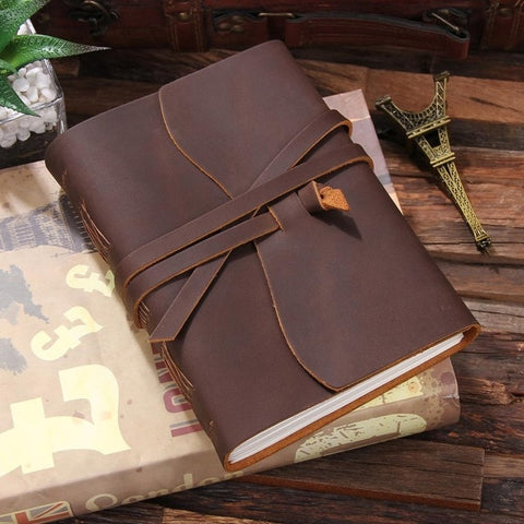 ROBRASIM Quality Men's Brown Leather Journal Travel Notebook