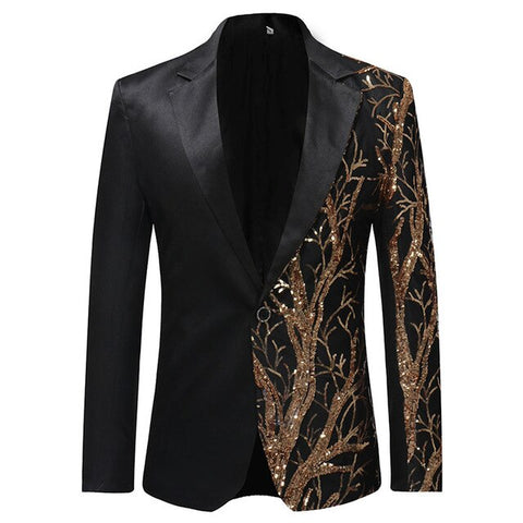PYJTRL 125 Men's Gold Sequins Black Blazer With Forest Pattern